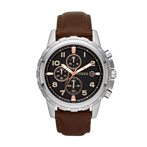 fossil Dean Chronograph Brown Leather Watch FS4828