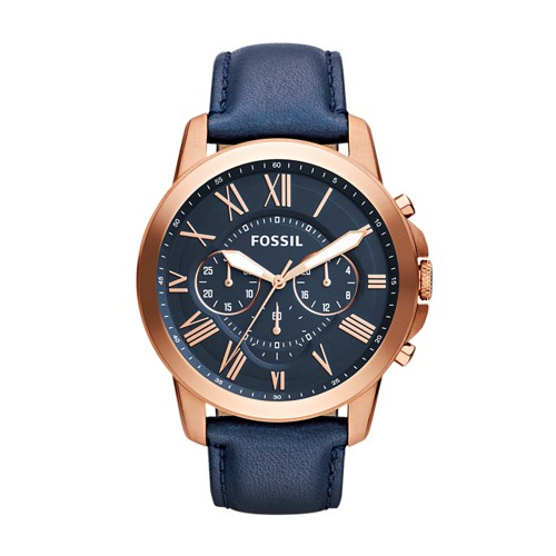 fossil Grant Chronograph Navy Leather Watch FS4835IE
