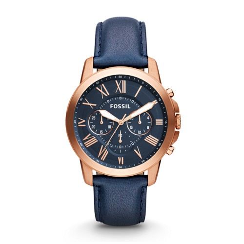 fossil Grant Chronograph Navy Leather Watch FS4835