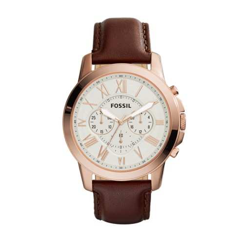 Fossil Grant Chronograph Brown Leather Watch Fs4991