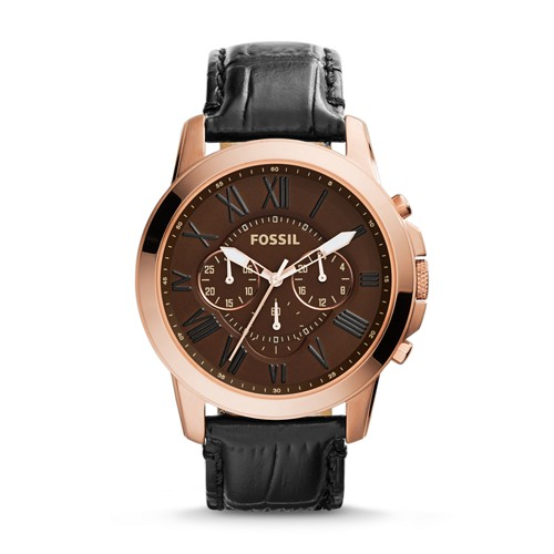 Fossil Grant Chronograph Leather Watch - Black Croco Fs4992