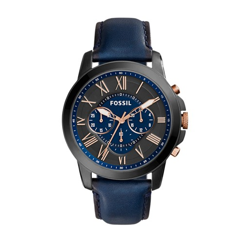 Fossil Grant Chronograph Navy Leather Watch FS5061IE