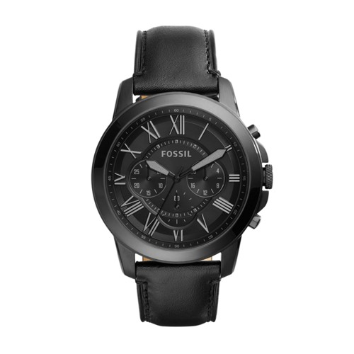 Fossil Grant Chronograph Black Leather Watch FS5132