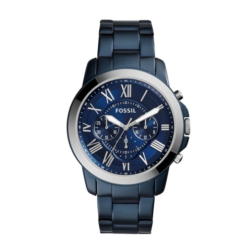 Fossil Grant Chronograph Blue-Tone Stainless Steel Watch Fs5230