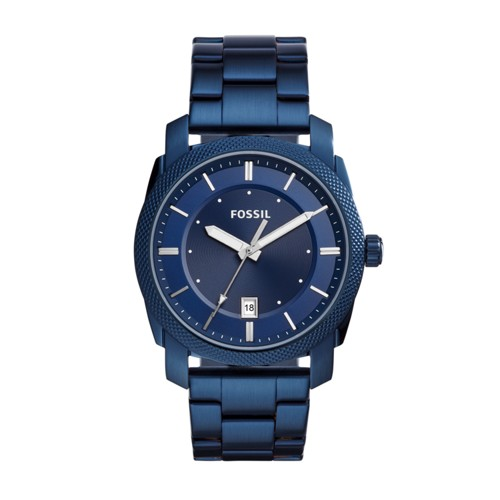 Fossil Machine Three-Hand Date Blue-Tone Stainless Steel Watch FS5231