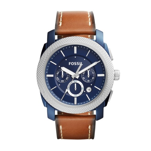 Fossil Machine Chronograph Dark Brown Leather Watch FS5232