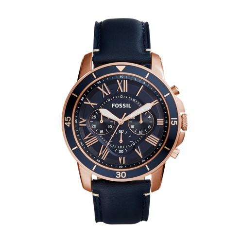 Fossil Grant Sport Chronograph Blue Leather Watch FS5237