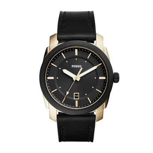 Fossil Machine Three-Hand Date Black Leather Watch FS5263