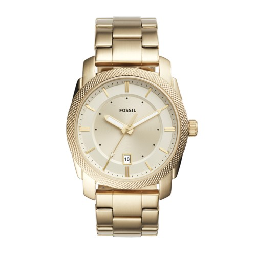 Fossil Machine Three-Hand Date Gold-Tone Stainless Steel Watch FS5264