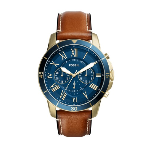 Fossil Grant Sport Chronograph Luggage Leather Watch FS5268