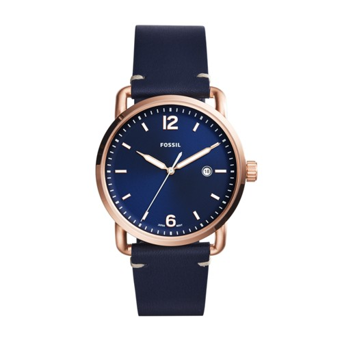 Fossil The Commuter Three-Hand Date Blue Leather Watch Fs5274