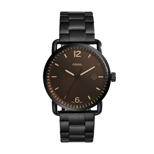 Fossil The Commuter Three-Hand Date Black Stainless Steel Watch FS5277