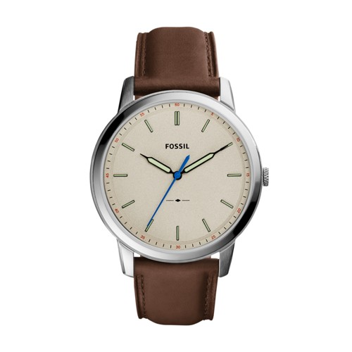 Fossil The Minimalist Slim Three-Hand Brown Leather Watch FS5306