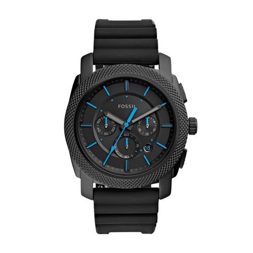 Fossil Machine Chronograph Black Silicone Watch Fs5323