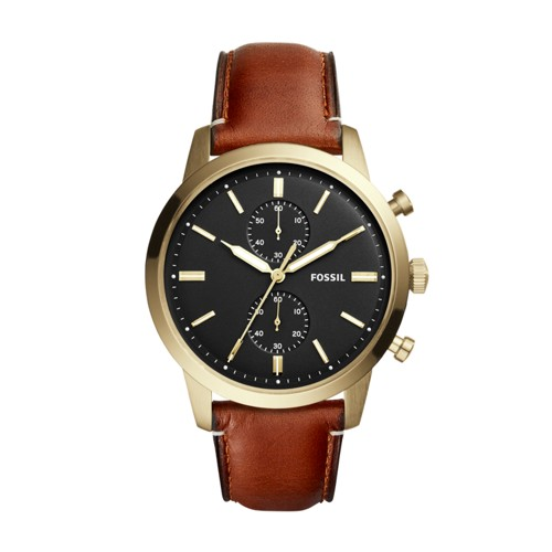Fossil Townsman 44mm Chronograph Light Brown Leather Watch FS5338