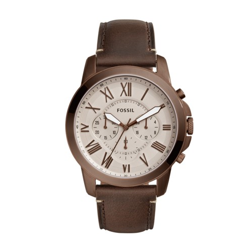 Fossil Grant Chronograph Brown Leather Watch Fs5344