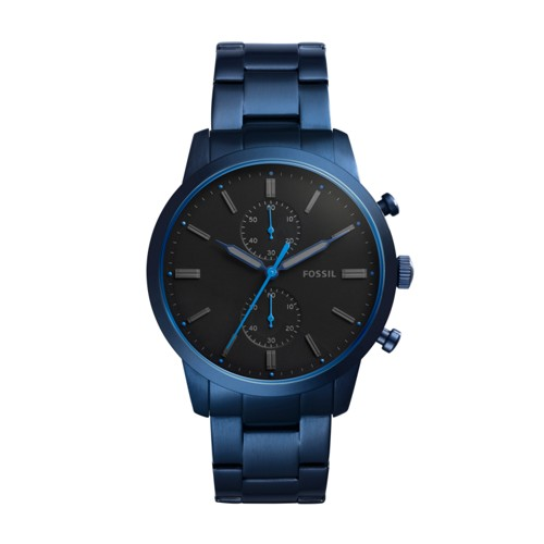 Fossil Townsman 44Mm Chronograph Blue Stainless Steel Watch Fs5345
