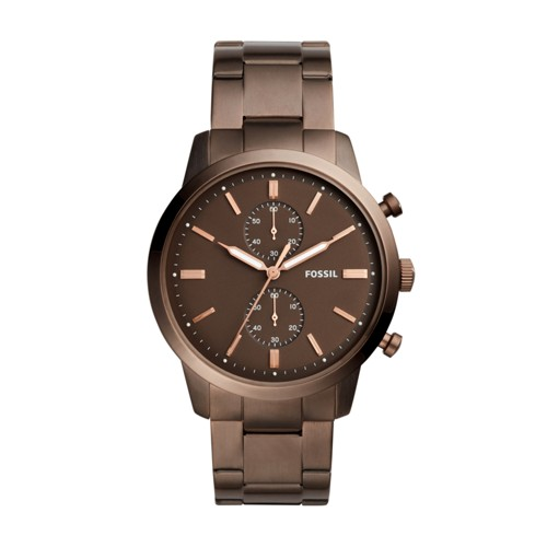 Fossil Townsman 44mm Chronograph Brown Stainless Steel Watch FS5347