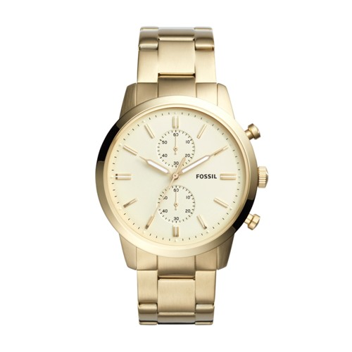 Fossil Townsman 44Mm Chronograph Gold-Tone Stainless Steel Watch Fs5348