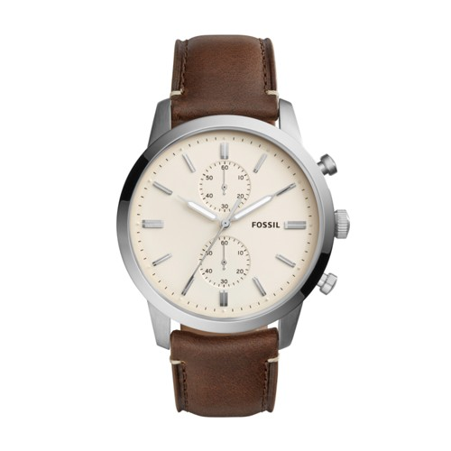 Fossil Townsman 44mm Chronograph Brown Leather Watch FS5350