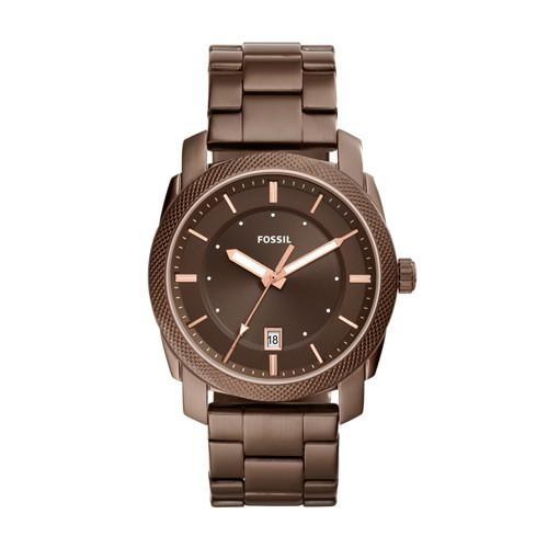 Fossil Machine Three-Hand Date Brown Stainless Steel Watch FS5370