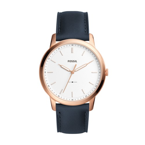 Fossil The Minimalist Slim Three-Hand Navy Leather Watch FS5371