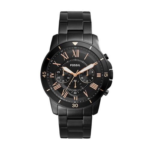 Fossil Grant Sport Chronograph Black Stainless Steel Watch FS5374