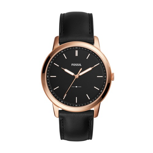 Fossil The Minimalist Slim Three-Hand Black Leather Watch FS5376