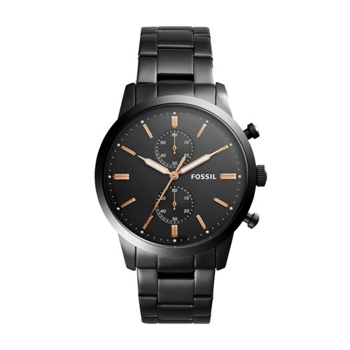 Fossil Townsman 44mm Chronograph Black Stainless Steel Watch FS5379