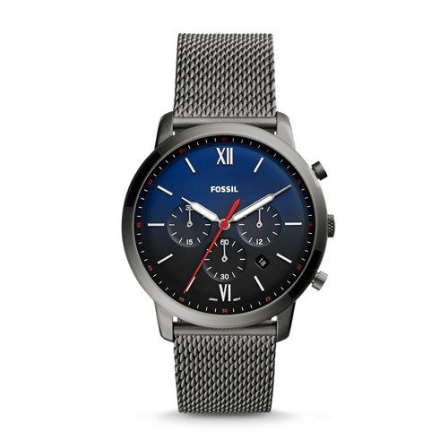 Fossil Neutra Chronograph Smoke Stainless Steel Leather Watch Fs5383 Multi