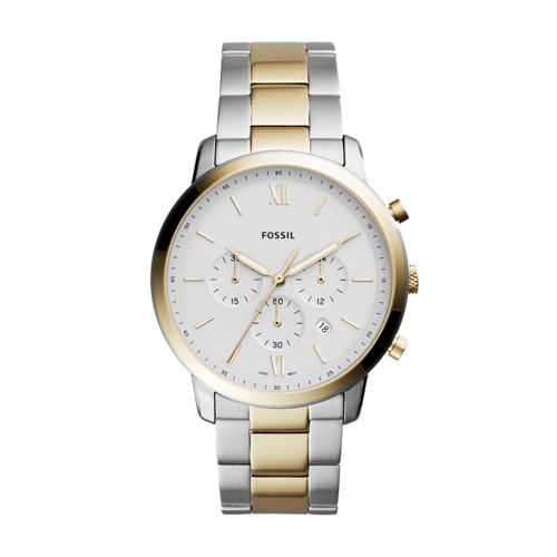 Fossil Neutra Chronograph Two Tone Stainless Steel Leather Watch Fs5385 White