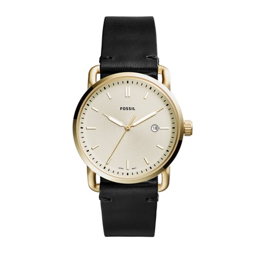 Fossil The Commuter Three-Hand Date Black Leather Watch FS5387