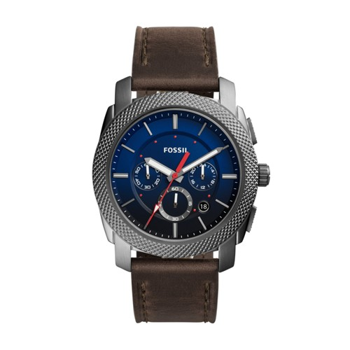 Fossil Machine Chronograph Gray Leather Watch Fs5388