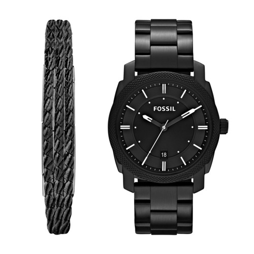 Fossil Machine Three-Hand Date Black Stainless Steel Watch and Jewelry Box Set FS5393SET