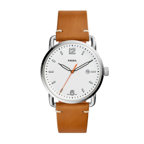 Fossil The Commuter Three-Hand Date Light Brown Leather Watch FS5395