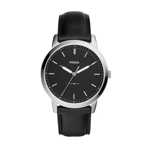 Fossil The Minimalist Three-Hand Black Leather Watch FS5398