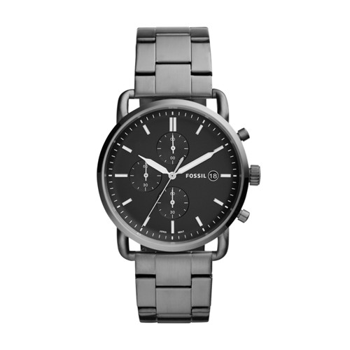 3bb7c582479fc Fossil The Commuter Chronograph Smoke Stainless Steel Watch FS5400