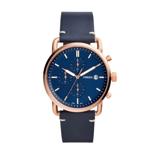 Fossil The Commuter Chronograph Navy Leather Watch FS5404