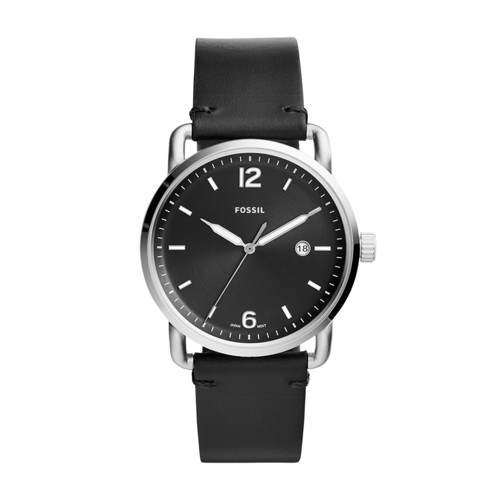 Fossil The Commuter Three-Hand Date Black Leather Watch FS5406