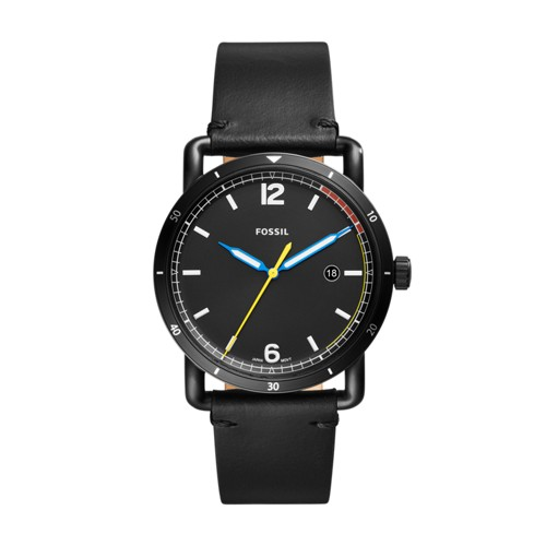 Fossil The Commuter Three-Hand Date Black Leather Watch FS5416