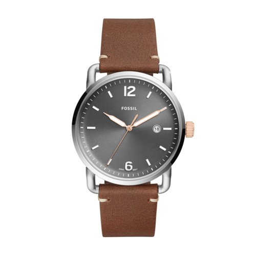 Fossil The Commuter Three-Hand Date Light Brown Leather Watch FS5417