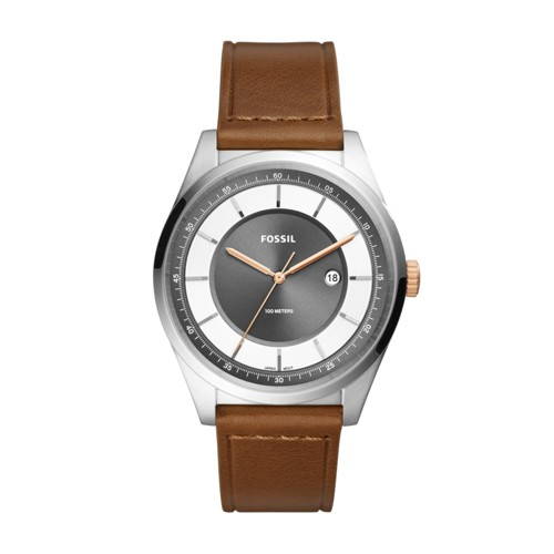 Fossil Mathis Three-Hand Date Light Brown Leather Watch Fs5421