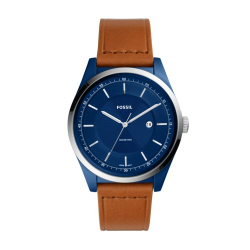 Fossil Mathis Three-Hand Date Light Brown Leather Watch FS5422