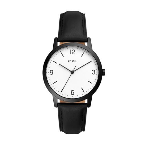 Fossil Blake Three-Hand Black Leather Watch FS5431