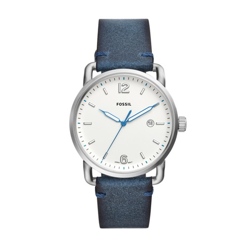 Fossil The Commuter Three-Hand Date Blue Leather Watch FS5432