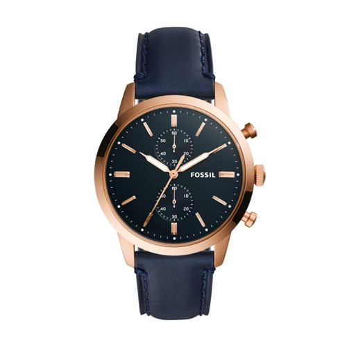 Fossil Townsman 44mm Chronograph Navy Leather Watch FS5436