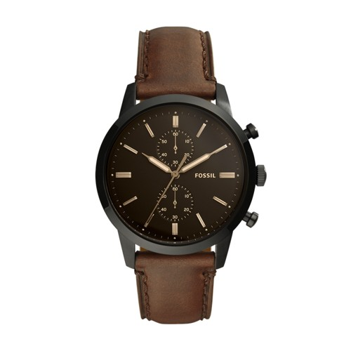 Fossil Townsman 44mm Chronograph Brown Leather Watch FS5437