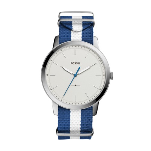 Fossil The Minimalist Three Hand Navy And White Polyester Watch FS5442