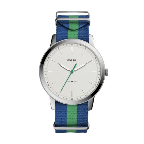 Fossil The Minimalist Three Hand Navy And Green Polyester Watch FS5443