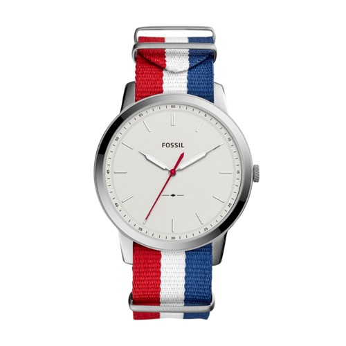 Fossil The Minimalist Three Hand Navy White And Red Polyester Watch FS5444